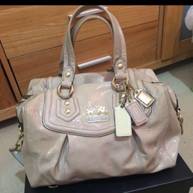 Genuine Coach patent leather beige bag