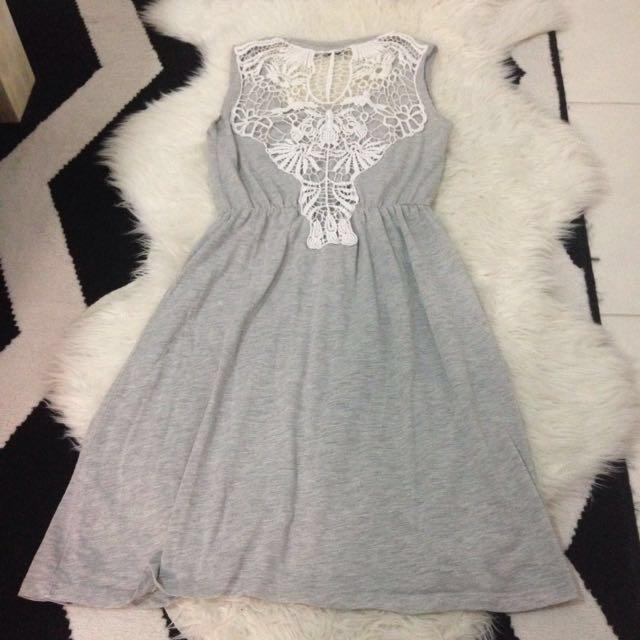 Grey White Cotton Lace Dress Size 8