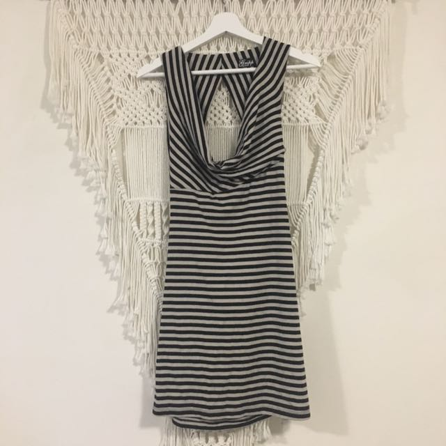 Gripp jeans size 10 black and white striped dress