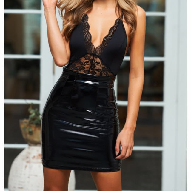 Hello Molly Black Vinyl-look Skirt