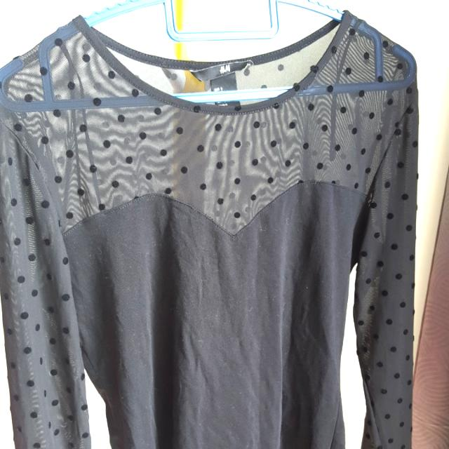 H&M Sheer Black Sexy  Shirt Blouse Sz S (Fits Up To M)