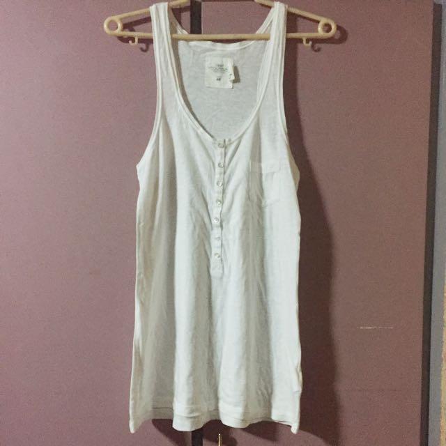 H&M white long tank top