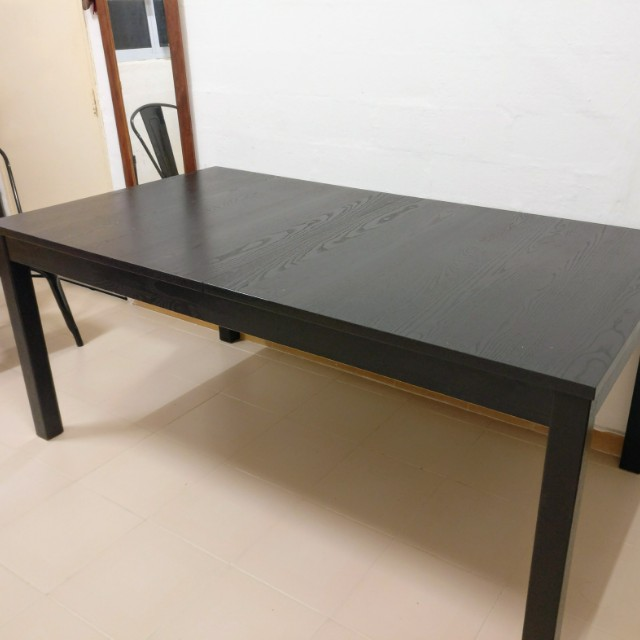 Ikea Bjursta Extendable Dining Table Black Brown Price Drop Furniture Tables Chairs On Carousell