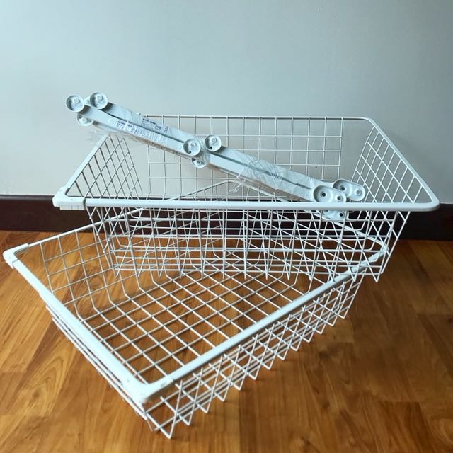 IKEA KOMPLEMENT Wire Baskets with Pull-Out Rails (2 for the price of 1)