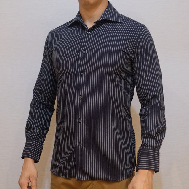 Kemeja Lengan Panjang Hitam Garis Putih Size S Men S Fashion Men S
