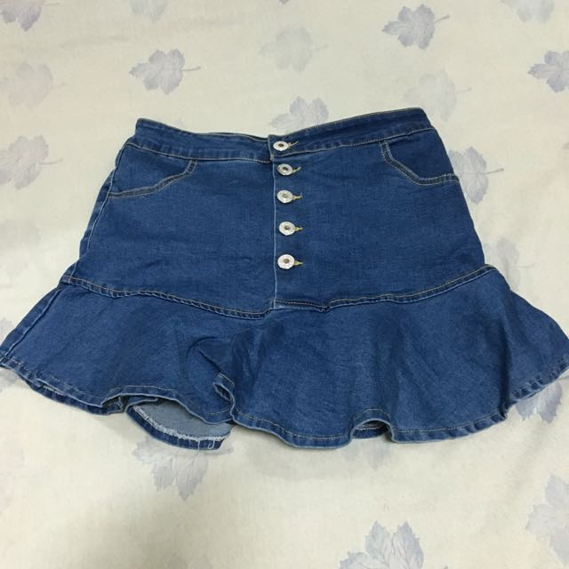 Korean Fluted Hem Button-down Denim Skirt
