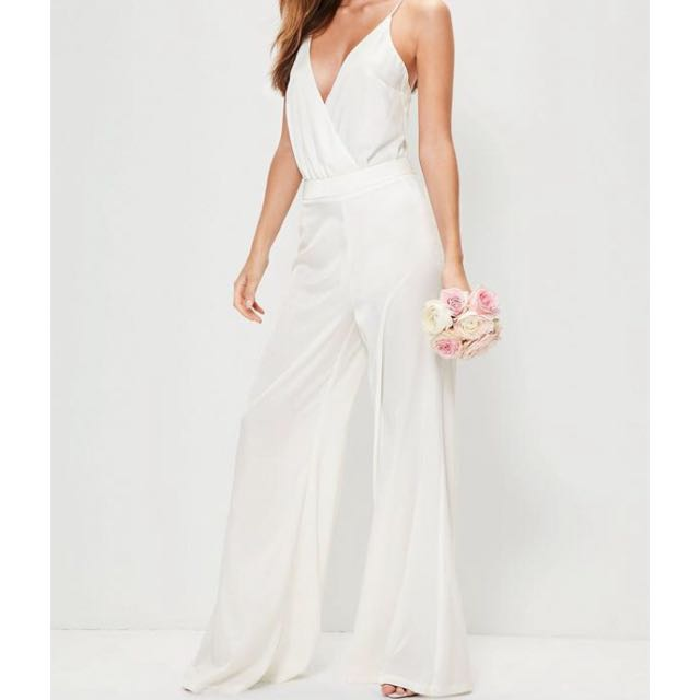Missguided White Silk Pants