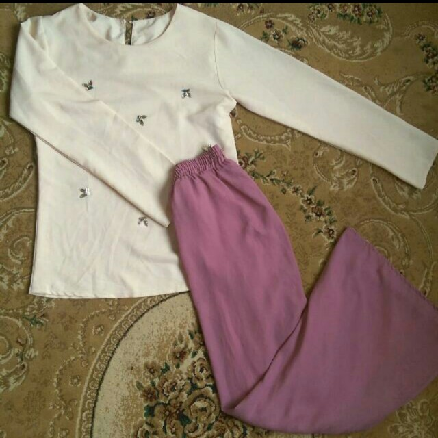 Modern kurung pink mermaid skirt