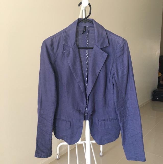 Nafnaf Linen Crop Blazer Jacket
