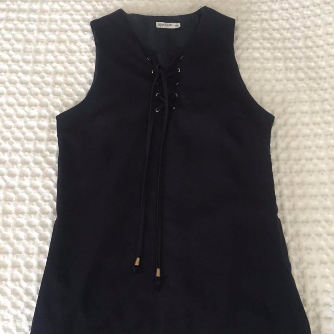 Navy Lace Up Dress
