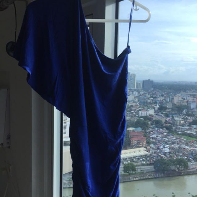 One shoulder dress in Royal Blue