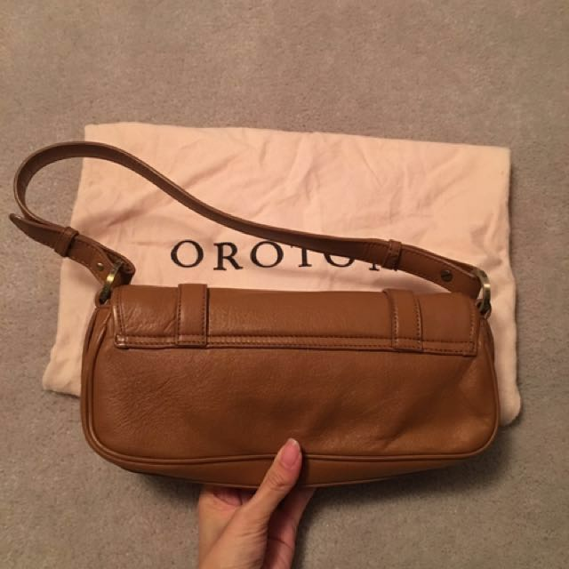 Oroton Leather Shoulder Bag Tan Colour