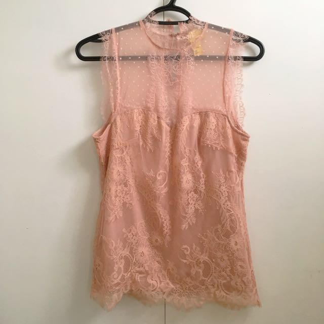 Pink Lace Holiday Blouse size 2