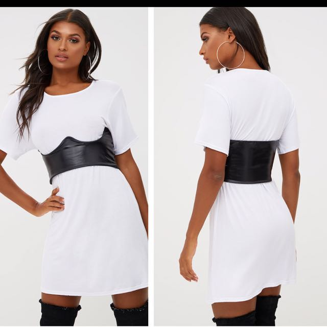 PLT - White Contrast Corset Detail T Shirt Dress