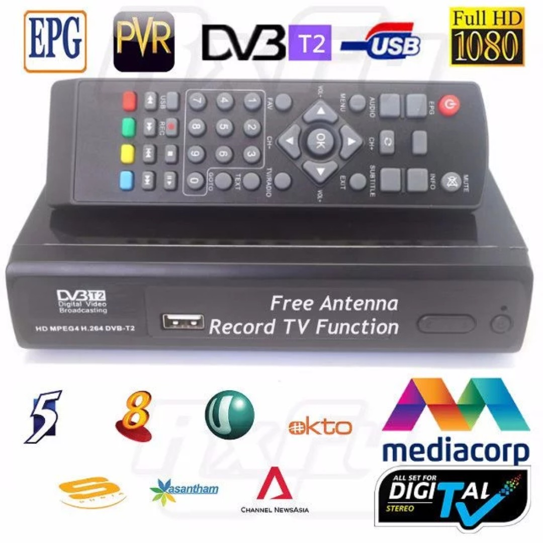 Quality Sg Mediacorp Digital Tv Hd Dvb T2 Tuner Receiver Antenna Different Types Of Set Top Box Signal Singapore Malaysia Indonesia Home Appliances