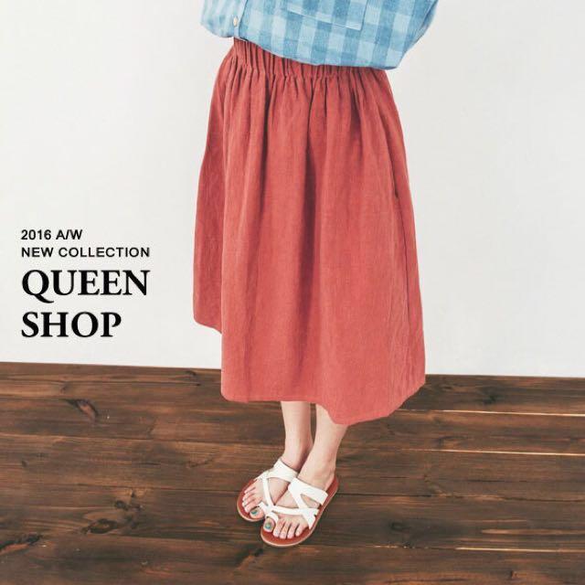 Queen shop 素色鬆緊棉麻長裙 藍&黑