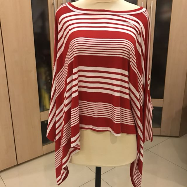 Red and White Cotton Blouse