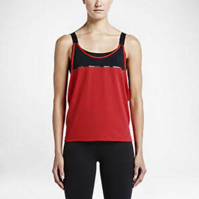 Red Nike Women's 2 In 1 Loose Sports Bra Tank Top - S