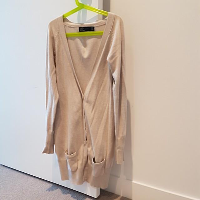0fd51a98784 S zara knit long cardigan in beige