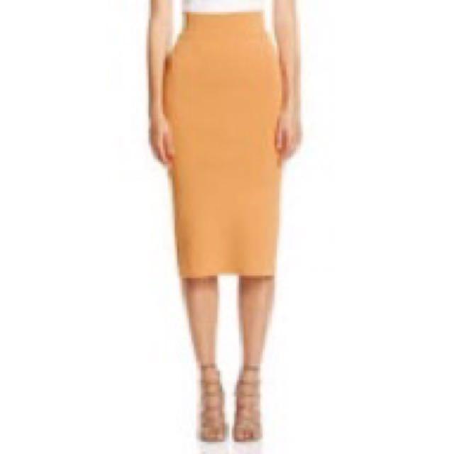 Scanlan Theodore Crepe Knit Dark Apricot Skirt S