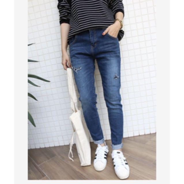 轉賣-Shin 小補丁鬆緊褲頭反折小男友褲 m號