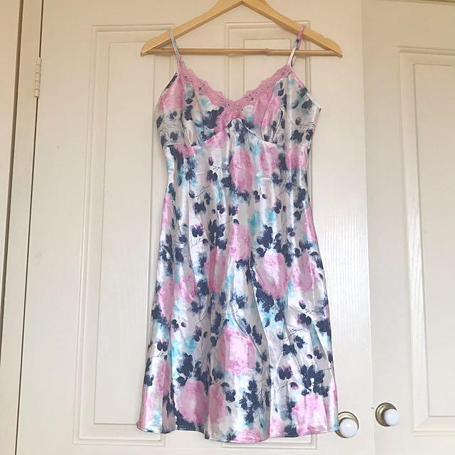 Silk floral slip nightie dress