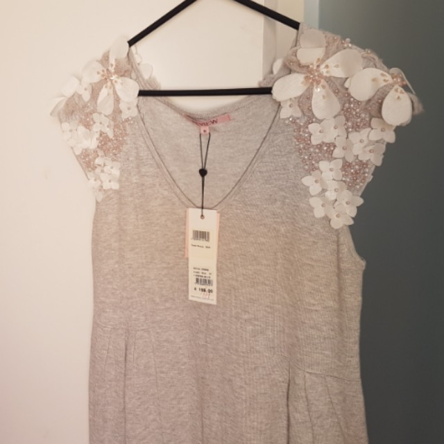 Soft grey Review dress with embellished sleeves, Size 12