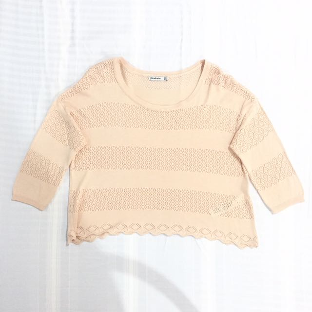 Stradivarius Pale Pink Knitted Top