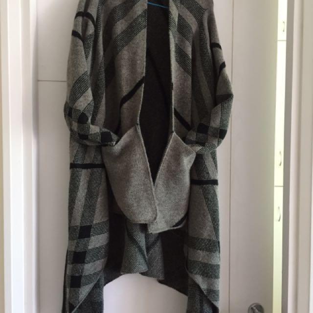 Strip grey n black wool Shaw