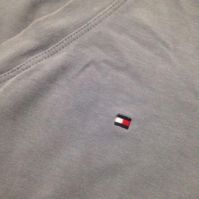Tommy Hilfiger Grey Blue V Neck Long Sleeve Shirt
