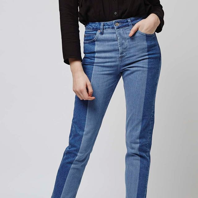 Topshop boutique two toned mom jeans