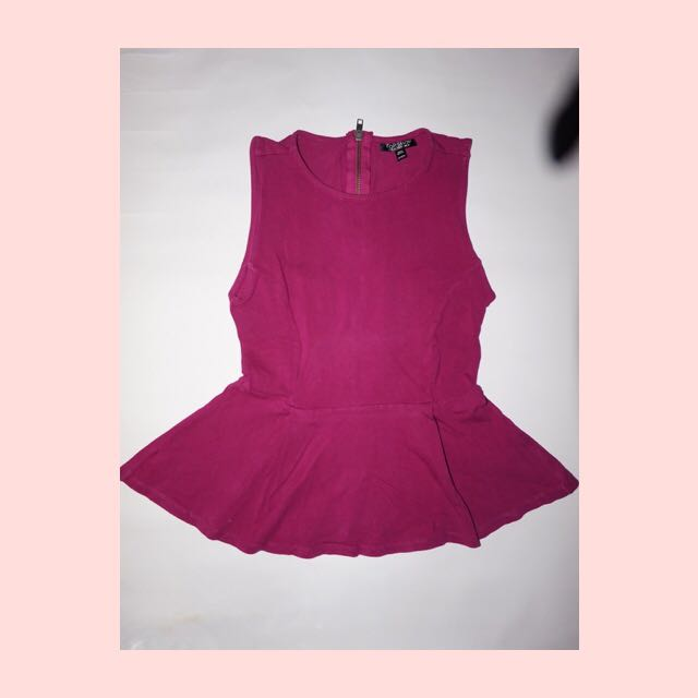 Topshop Purple Peplum Top