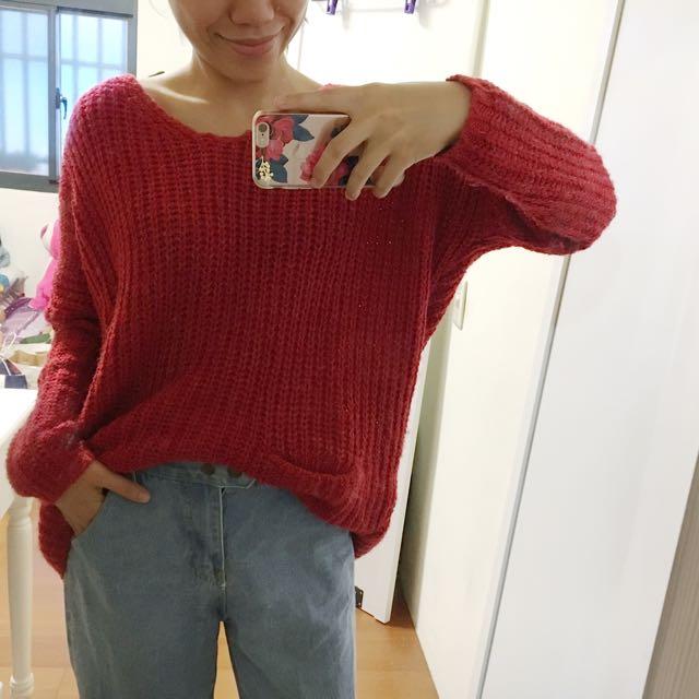 雙口袋V口柔織毛線衣
