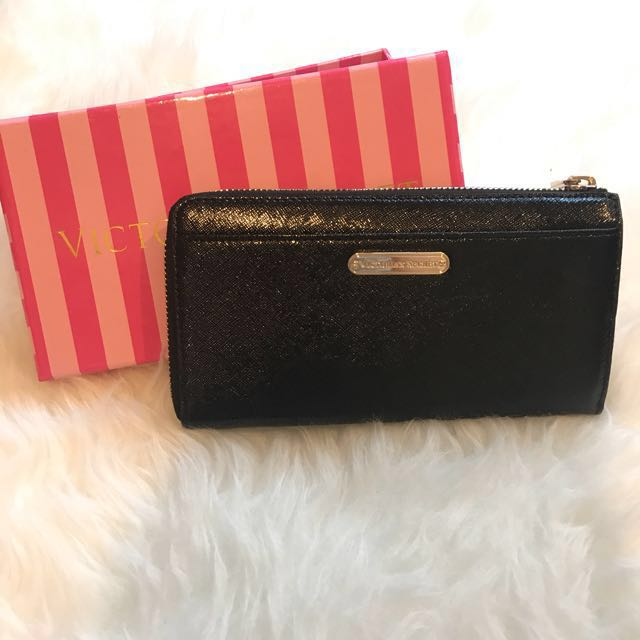 Victoria's Secret Long Wallet (Black with Leopard Pattern Inside)