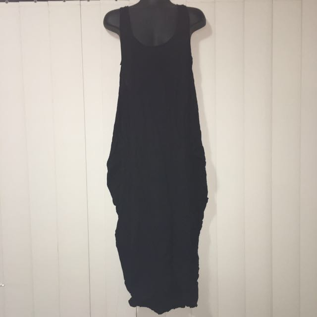 Witchery Long Black Stylish Dress With Billowed Sides And Razor Back