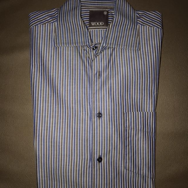 Woods Stripes Buttoned Up Office Shirt size 15 1/2