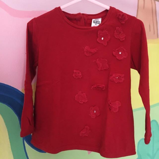 Zara baby red long sleeve
