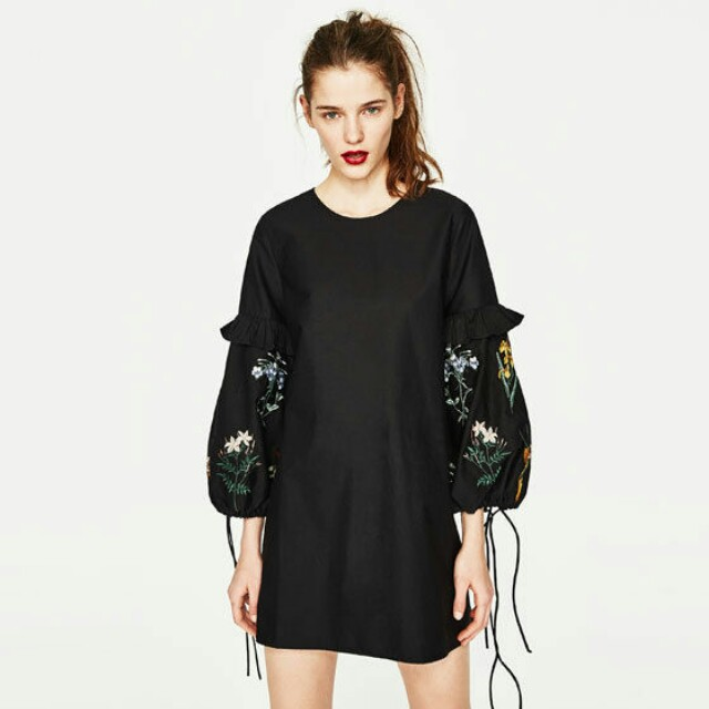 ZARA Embroidered Sleeves Dress