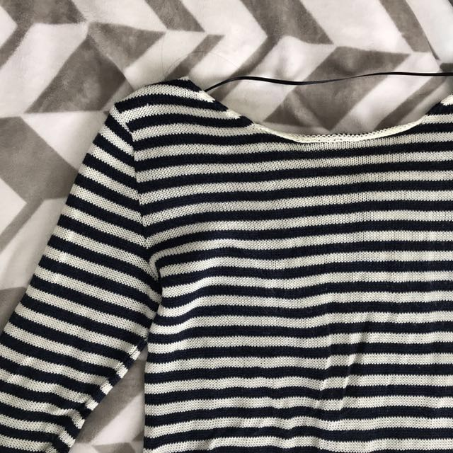 Zara navy and white striped sweater