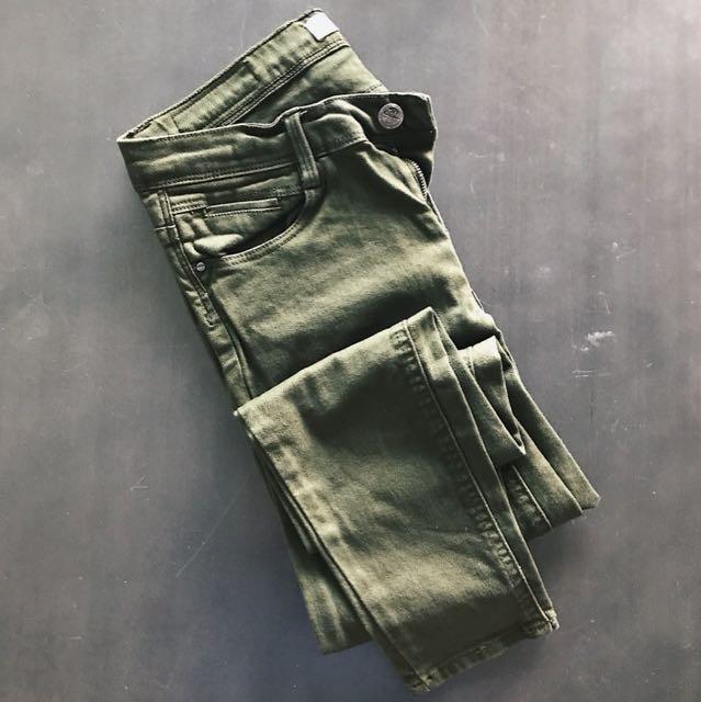 Zara Olive Green Skinny Jeans - Size 26