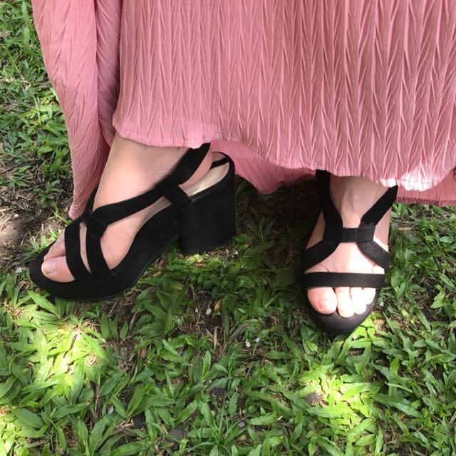 Zara Suede Strap Platform Heels