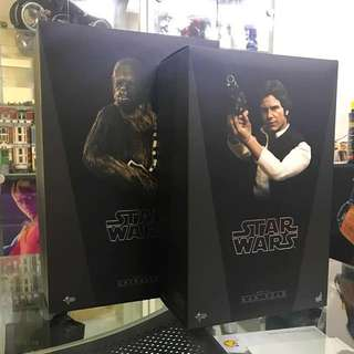 To trade Hot Toys Star Wars A New Hope Han Solo and Chewbacca to BIB Hot Toys The Force Awaken Han Solo and Chewbacca