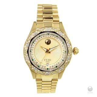 FERI - Aisa Watch - Gold Tone with Yellow Face
