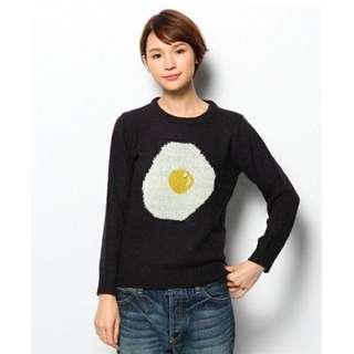 💫日本設計師品牌I AM I可愛的荷包蛋針織上衣-深藍