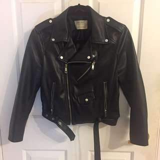 Zara leather Moto Jacket size M