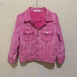 Denim jacket crop pink