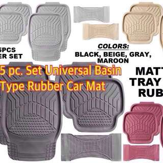 5 PC. SET UNIVERSAL BASIN TYPE RUBBER CAR MAT