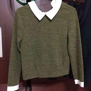 復古 古著款墨綠短版假兩件長袖