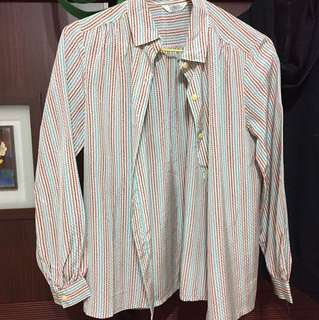 古著 藍粉咖條紋長袖襯衫