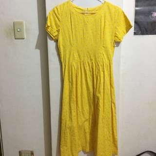 古著 黃底小花 短袖洋裝